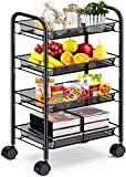 4-Tier Mesh Wire Rolling Cart Multifunction Utility Cart Metal Kitchen Storage...