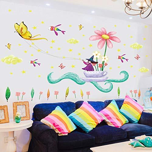 Cartoon Fee Magie kleine Hexe Wandaufkleber Tasse fliegende Fische Blume Schmetterling Sterne Mädchen Prinzessin Zimmer Schlafzimmer Dekor Aufkleber
