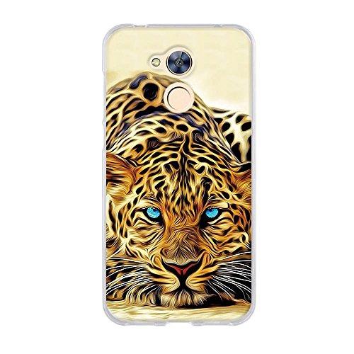 FUBAODA Hülle für Huawei Honor 6A, Exotische Zeichnung Eines blauen Augen-Leoparden,Langlebige Ultra Dünn Schutzhülle- Staub & Scratch- Stoßfest TPU Handyhülle für Huawei Honor 6A