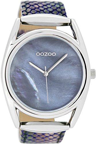 Oozoo Damenuhr mit Lederband 43 MM Perlmutt Blau/Snake Blau C9167