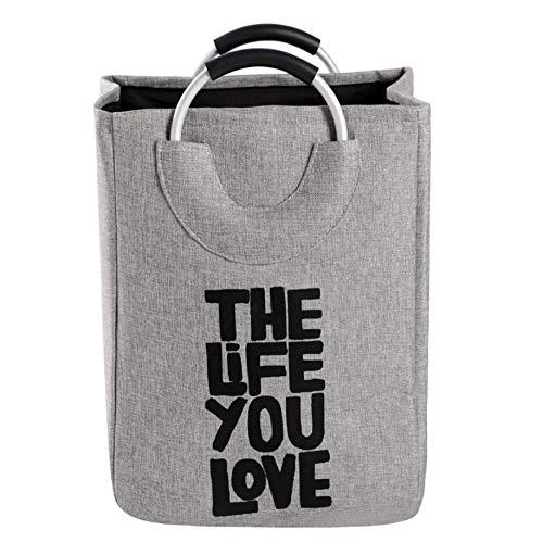 YUWO Extra grote opvouwbare wasmanden, aluminium ring, grote tas, boodschappentas, kledingopbergtas, verschillende sorterende tassen