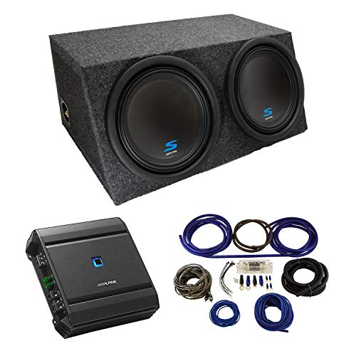 """Universal Car Stereo Hatchback Sealed Dual 12"""" Alpine Type S S-W12D2 Sub Box Enclosure with S-A60M Amplifier & 4GA Amp Kit"""