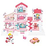 LEAMEERY Dream House Dollhouse Building Toys, Pretend Play Dream House for Girls, Three-Story Girls Doll house Toy with Furniture, Dolls, Pet, Car and Accessories, DIY Creative Gift for Girls Toddlers