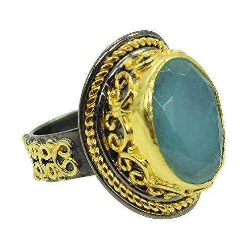 Ravishing Impressions Jewellery Anillo de compromiso de plata de ley 925 con forma ovalada de calcedonia azul, chapado en rodio, Piedra, Chalcedony,