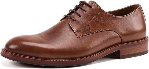 Willsego schuhe de Derby de Punta Estrecha para Hombre con Cordones Derby Cepillado Negocio Genuino de Cuero Zapato de Vestir Formal para Trabajo Fiesta de Boda (Farbe   braun, tamaño   44)
