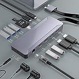 USB C Hub MacBook Pro Air, Thunderbolt 3 Docking Station Compatible con MacBook Pro 2020-2016 y MacBook Air 2020-2018, Adaptador Tipo C Dock con Dual 4K HDMI Soporta Pantalla Dual Extendida