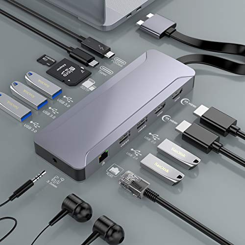 Thunderbolt 3 Docking Station für MacBook Pro, 2 USB C Hub 4K Triple Display Dock, Laptop Dockingstation mit Dual HDMI 4K@30hz, Ethernet, PD und Data Port, 5 USB, SD/TF Kartenleser, 3.5mm Audio