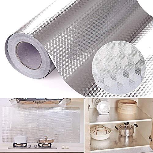Vinilo autoadhesivo de aluminio resistente al aceite, resistente al agua, a prueba de aceite, adhesivo para pared, cocina, gabinetes, encimeras