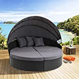 Oakmont Patio Furniture Outdoor Daybed Round Sofas with Canopy, Black Wicker, 4 Pieces Seating Separates Cushioned Seats,Lawn Poolside Garden