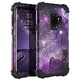 BENTOBEN Case for Galaxy S9 5.8', Space Nebula Heavy Duty Reinforced Corners Shockproof Hybrid Three Layer Hard PC Soft Rubber Bumper Protective Phone Case for Samsung Galaxy S9 5.8', Purple Nebula