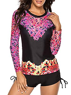 Women's Two Piece Swimsuits Long Sleeve Rashguard Sun Protection Shirt Floral Printed Tankini Swimsuit Bathing Suit Black & Rose L