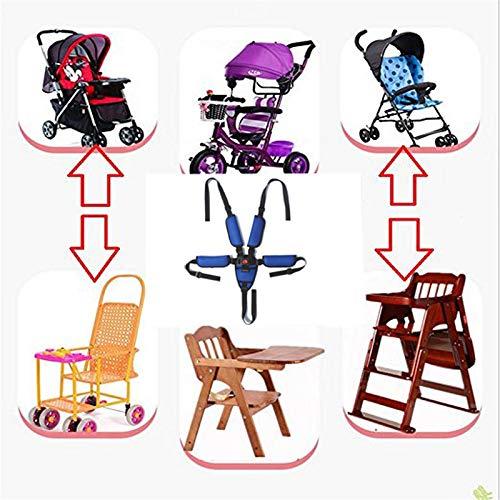 Cinghie per seggiolone, Imbracatura a 5 punti, Imbracatura per seggiolone, Cinghia di sicurezza per bebé per passeggino Seggiolone carrozzina Passeggino per bambini Passeggino per bambini(Blu)