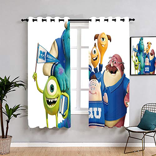 Monsters Inc Michael Wazowski Cartoon Curtains for Living Room Insulated Curtains Blackout Window Curtain for Boys Girls Room W55 x L45