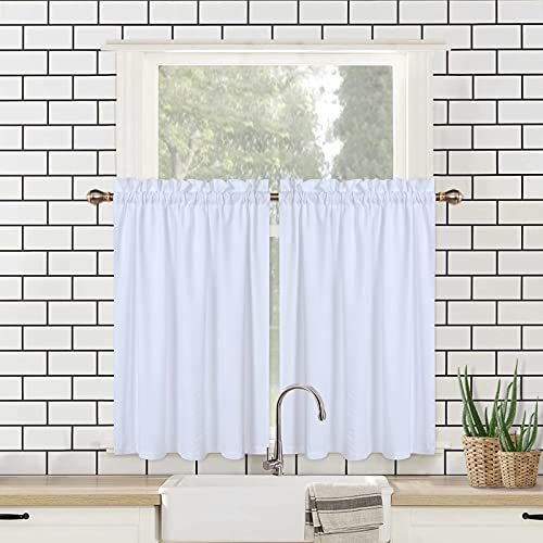 """CAROMIO Kitchen Tier Curtains for Windows 30 Inch Length, Embossed Textured Soft Seersucker Fabric Short Half Cafe Curtain for Bathroom, Premium Water Repellent(White, 30"""" W x 30"""" L, Set of 2)"""