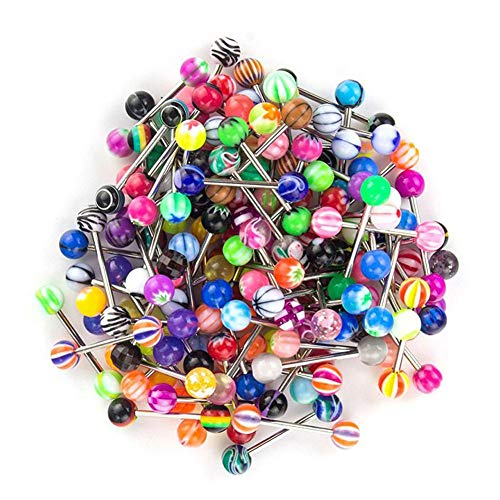 EUFANCE 100 piezas colores surtidos Anillos de lengua de pezón mixtos Barbells Body Piercing Jewelry