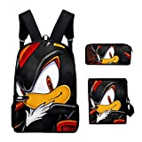 3PC / Set Mochila para niños, Juego Sonic The Hedgehog Patrón Estudiantes Mochilas Escolares Dibujos Animados Anime Adolescentes Mochilas Set,K