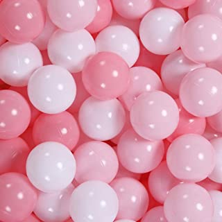 GOGOSO Ball Pit Balls 100 PCS for Toddles, Kids Plastic Balls for Ball Pit , Pool, Pink Party Accessories, Birthday Decoration, Crush Proof and Durable with Storage Bag