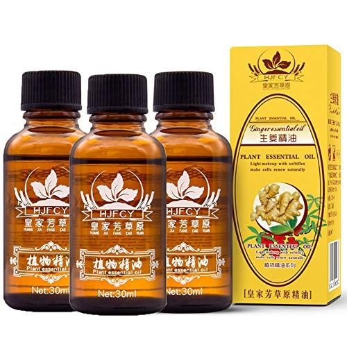 3 Pcs Huiles Essentielles Huile de Massage pour SPA Huile essentielle de gingembre de Drainage Lymphatique Pur Naturel 30ml par Pretty Comy