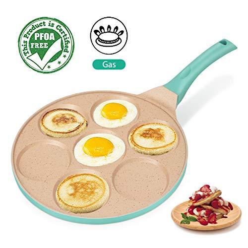 FRUITEAM Blini Pancake Pan Nonstick Griddle 10 Inch Pancake Maker Mini Pancake and Flapjack 7 Mold Cooker Pan for Kids...