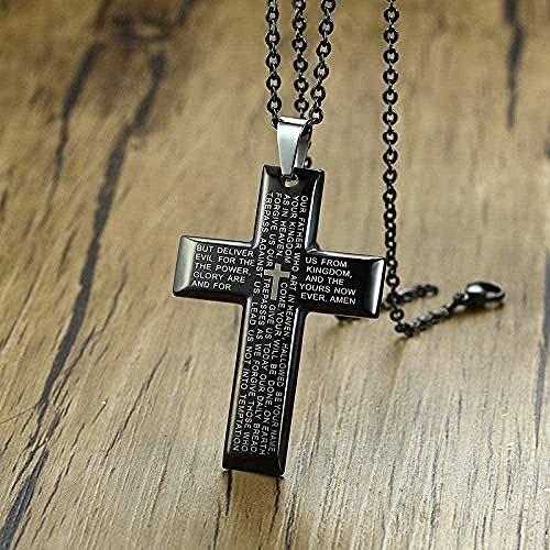 Yiffshunl Collar para Hombre de Acero Inoxidable Simple Cruz Negra Colgante Caballeros oración crucifixión Collar Cristiano con Collar de 20 Pulgadas Regalo