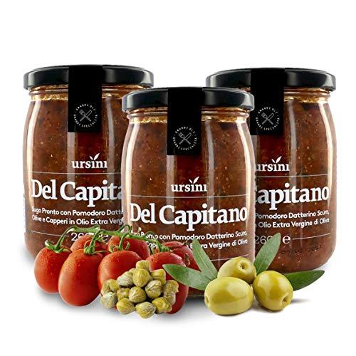 Ursini Sugo del Capitano, con Pomodoro Dolce a Crudo, Formaggi, Olive, capperi e Pesto di basilico, 260 g (Confezione da 3 Pezzi)