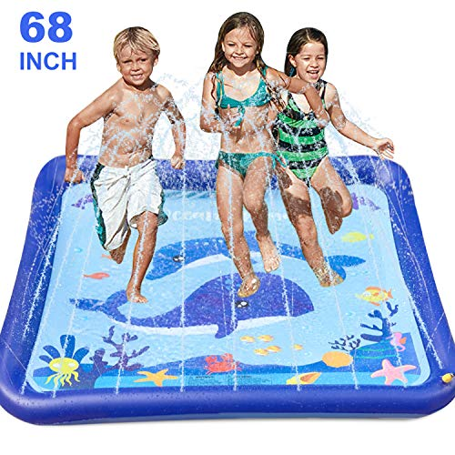 GiftInTheBox Kids Sprinkler & Splash Play Mat 68' Sprinkler for Kids Outdoor Water Toys Fun for...