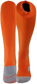 Sports Compression Football Socks,Youth and Children's Long Football Socks - Boy and Girl Extra Pad Thick Cotton Striped Football(Two Pairs),Orange