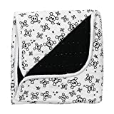 HonestBaby Organic Cotton Hand-Quilted Blanket, Tossed Skulls/Black, One Size