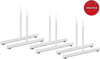 White Gridwall T Base Rectangular Tube With Levelers (Set of 3 Pairs) White Finish …