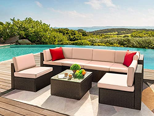 Devoko 7 Pieces Outdoor Sectional Sofa Patio Furniture Sets Manual Weaving Wicker Rattan Patio Conversation Sets with Cushion and Glass Table (Beige)