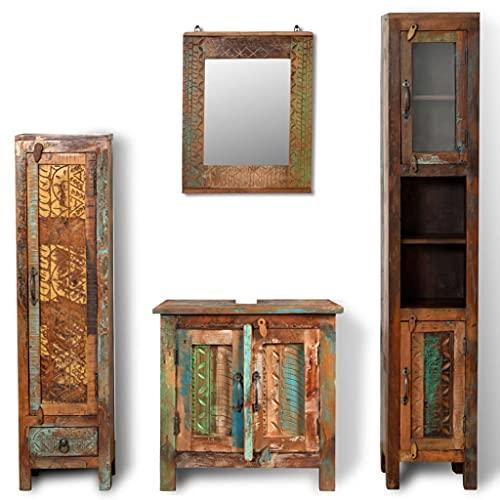 vidaXL Set Bagno in Legno Anticato con Specchio e 2 armadi Laterali