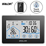 BALDR Digital Wireless Hygrometer Indoor & Outdoor Thermometer - Backlit LCD Touch Screen Weather Station - Monitor Temperature & Humidity Weather Forecaster with Remote Sensor