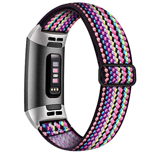 Witzon Adjustable Elastic Bands Compatible with Fitbit Charge 4 / Charge 3 / 3SE Bands, Breathable Loop Fabric Pattern Replacement Strap Stretchy Charge 3 Wristbands for Women Men, Colorful Rope
