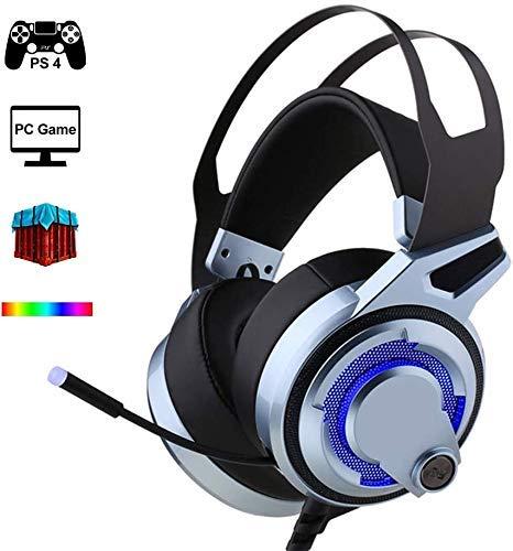 XIUYU High-End-PS4 Gaming Headset mit Mikrofon, virtuelle 7.1-Stereo-Sound über Ohr-Kopfhörer mit 4 Physikalischem Audio Units und Custom Color-LED-Leuchten (für PC / PS4 / Xbox One) Silbergrau