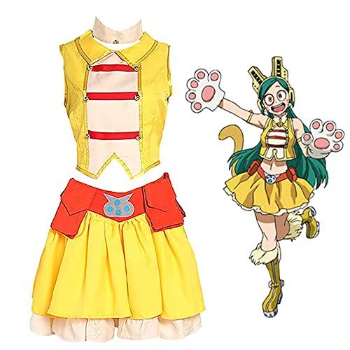 yinYSR My Hero Academia Cosplay disfraz Tomoko Shiretoko Cosplay vestido MHA Ragdoll Cosplay Tops vestido con muñequeras conjunto completo traje