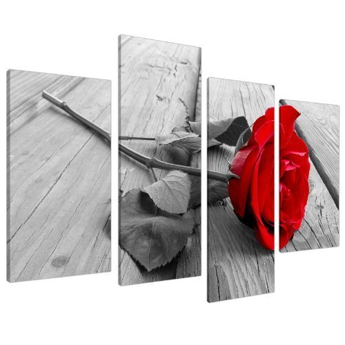 "Red Rose Floral Canvas Wall Art Pictures - Black White Grey Split Panel Set - XL - 130cm / 51"" Wide"