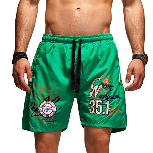 behype. Herren Bade-Shorts Kurze Hose Swim-Shorts Bade-Hose Strand Beach-Wear 80-1201 (XXL, Grün (K002))