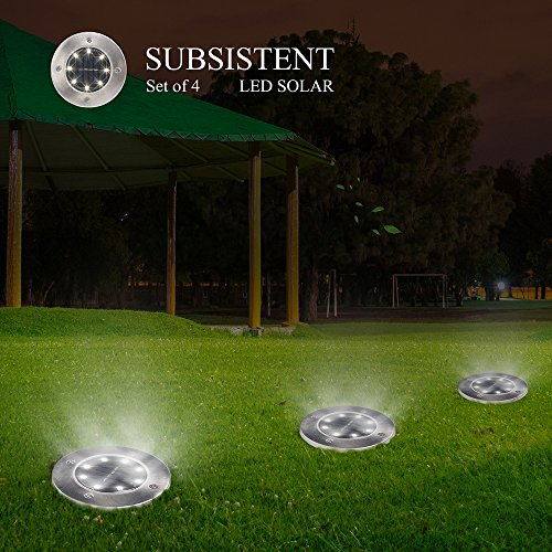 Solar Powered Ground Lights, 8LED Solar Path Lights Outdoor Waterproof Garden Landscape Spike Lighting for Yard Driveway Lawn Pathway Walkway Disk Lights- White/Warm White (Warm White 4 PACK)