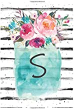 Cute Flowers Monogram Letter S Notebook: Cute Monogram Letter S Lined Journal With Flowers Cover Notebook 120 Pages Soft And Matte Cover 6x9 Inch