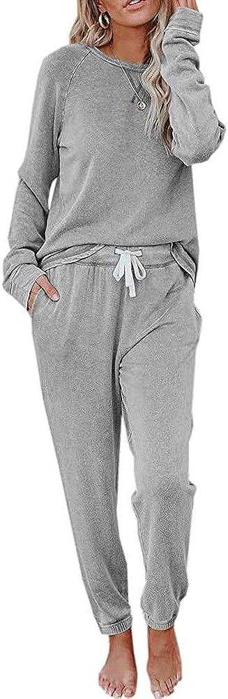 Womens Sweatsuits 2 Piece Outfit Sweatpants Loungewear Jogger Pajama Set Long Sleeve Pullover Drawstring Pants