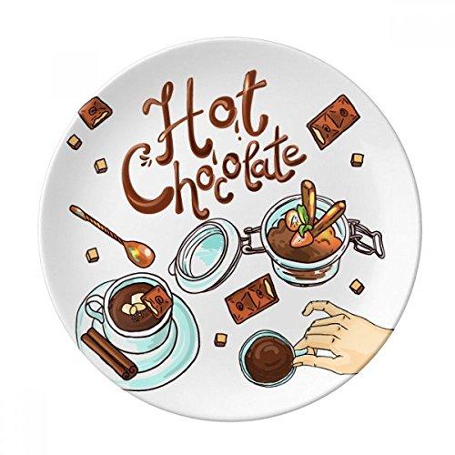 DIYthinker Chocolat Chaud Desserts Boisson France Porcelaine décorative Assiette à Dessert 8 Pouces Dîner Accueil Cadeau 21cm diamètre Multicolor