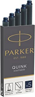 Parker Quink Ink Refill Cartridge for Fountain Pens, Blue/Black Ink, 5/Pack