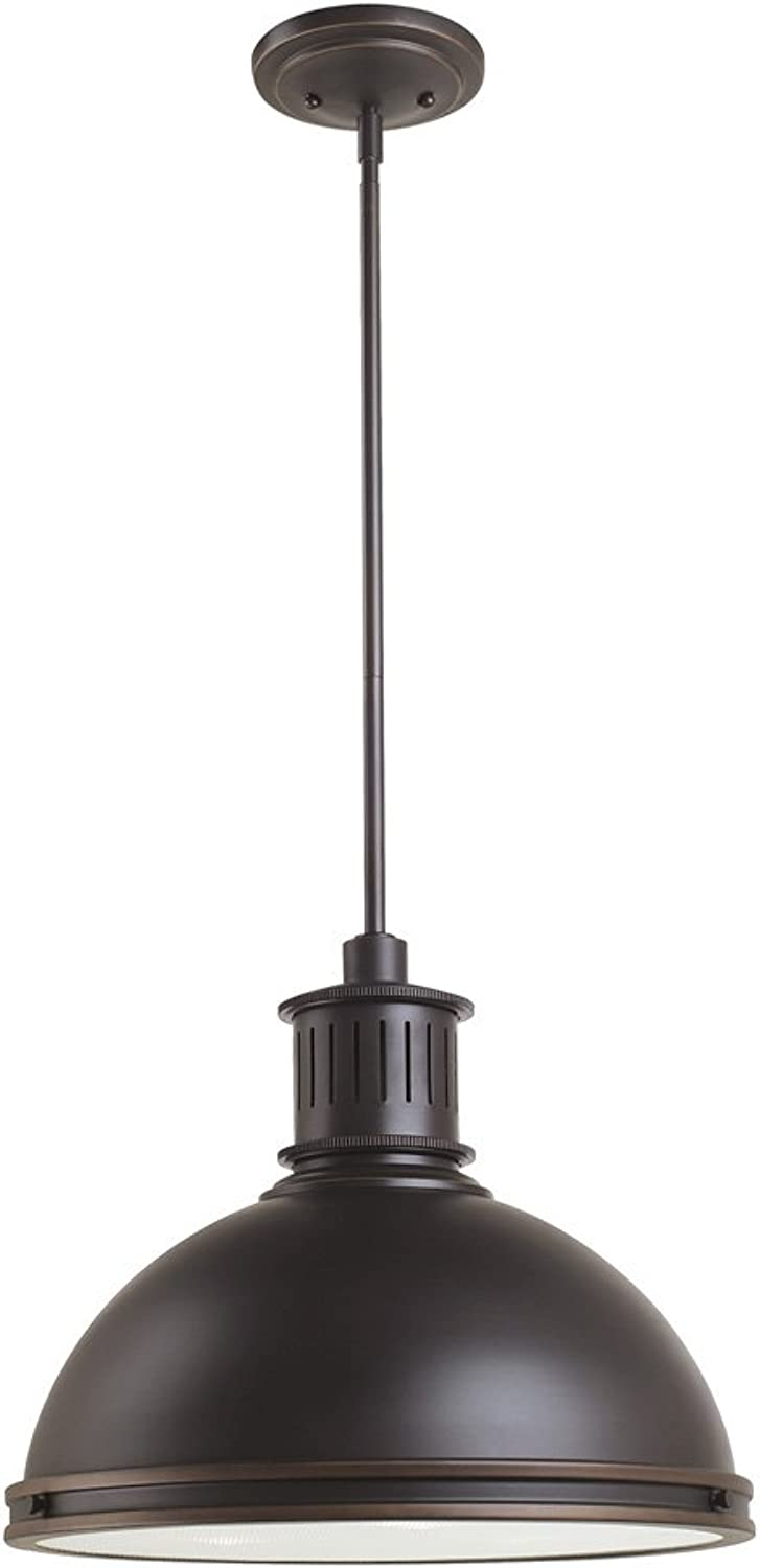 Sea Gull Lighting 65087-715 Pratt Street Metal Three-Light Pendant with Clear Textured Glass Diffuser, Autumn Bronze Finish