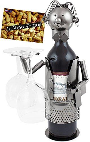 BRUBAKER Weinflaschenhalter Flaschenständer Kellner Deko-Objekt Metall mit Grußkarte für Weingeschenk