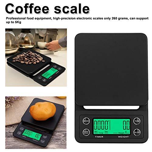 NoyoKere Báscula Digital para Cocina, 3KG / 0.1g -5KG / 0.1g LCD Digital Báscula con Contador de Tiempo