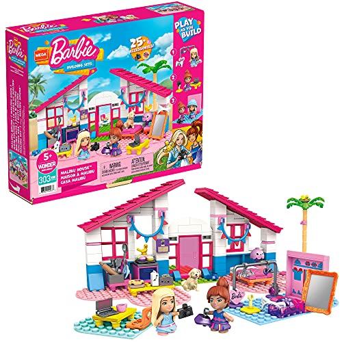 Mega Construx Barbie Casa de Malibú, muñecas con casa de bloques de construcción y accesorios de juguete (Mattel GWR34)