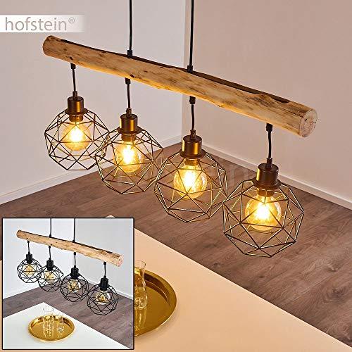 Pendelleuchte Bacabal, längliche Hängelampe aus Metall/Holz in Schwarz/Braun, 4-flammig, 4 x E27 max. 60 Watt, Höhe max. 119 cm, Hängeleucht m. Gitter-Optik im Retro/Vintage-Desgin, LED geeignet