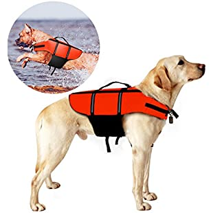 Life Jackets for Dogs, Poppypet dog Life Jacket, Dog Floatation Vest,Pet Reflective Saver Preserver Life Vest Orange XL:Comoparardefumar