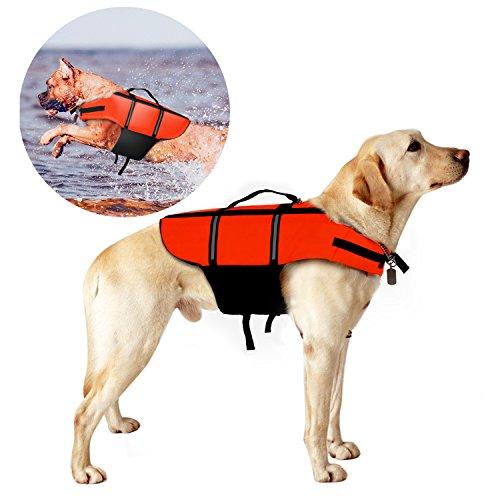 Hundeschwimmweste, Poppypet Doggy Aqua-Top Schwimmweste Schwimmtraining für Hunde, Orange L