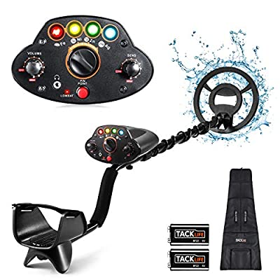 "TACKLIFE Metal Detector,Adjustable High Accuracy Beach Waterproof Metal Finder (41""-53"") with DISC Mode, Pinpoint Function,4 Colors LED Light, for Adults and Kids,Fast Detection- MMD05 Upgraded"